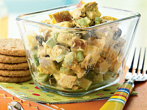 Enjoy this fruit-studded chicken salad with whole-grain crackers, or spread it on whole-wheat bread for a sandwich. The balance of sweet apples and raisins with fragrant curry elevates chicken salad to a new level.
