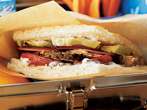 Lamb, Roasted Tomato, and Artichoke Sandwiches with Olive