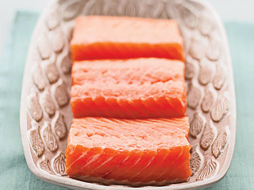 If you're pumping iron salmon could make you stronger. With 22 grams of high quality protein per three ounces, this smart catch provides the building blocks your body needs to re- synthesize muscle tissue after a tough workout. And that's not all. Salmon is also nature's number one source of vitamin D, a nutrient that many of us don't get enough of. That can make it harder to build muscle according to a 2010 Osteoporosis International study which links low vitamin D levels to decreased muscle strength.
