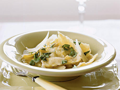 The delicate sauce allows the ravioli to be the star of this recipe. You can shape the pasta and freeze it for up to a month before cooking.