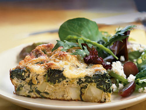 Frittata with Spinach, Potatoes, and Leeks