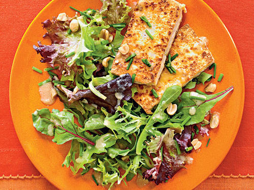 Pan-Crisped Tofu with Greens and Peanut Dressing