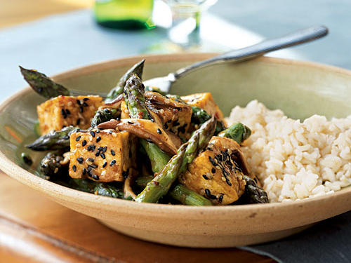 Sesame Tofu Stir-Fry Over Rice Vegetarian Recipe