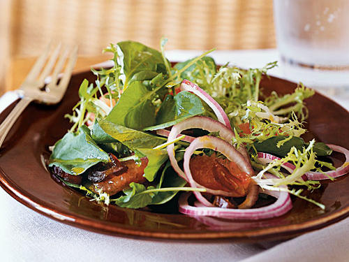 A platter of this colorful salad makes an elegant starter. Sugary dates provide a sweet contrast to the salad's bitter greens. Grapeseed oil provides healthy fats and vitamin E. It has a mild flavor.
