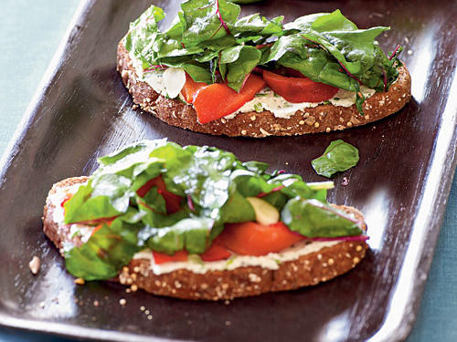 A tartine is an open-faced sandwich. This recipe demands a hearty bread (one topped with seeds and intact grains adds a nutrition bonus); it's the best match for the herbed-cheese topping.