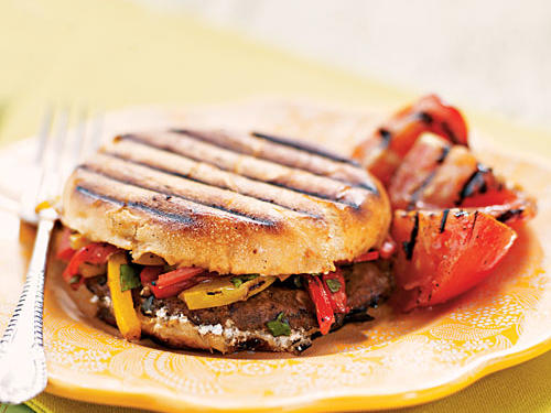 Grilled Portobello, Bell Pepper, and Goat Cheese Sandwiches Vegetarian Recipe