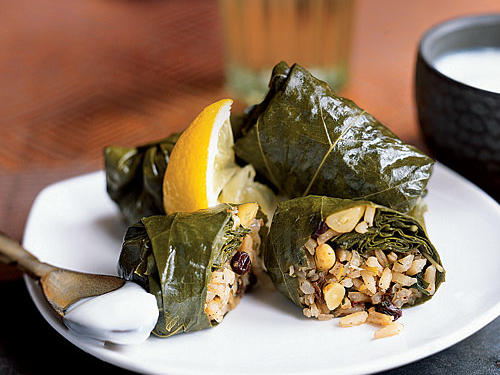 Grape Leaves Stuffed with Rice, Currants, and Herbs Vegetarian Appetizer