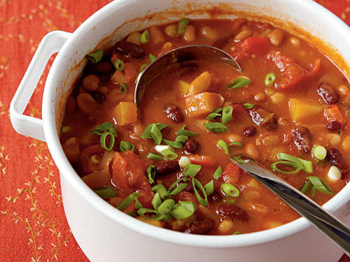 Another variation of three-bean veggie chili, this recipe calls for cannellini beans as opposed to black beans. Crushed red pepper also gives this dish some subtle heat.