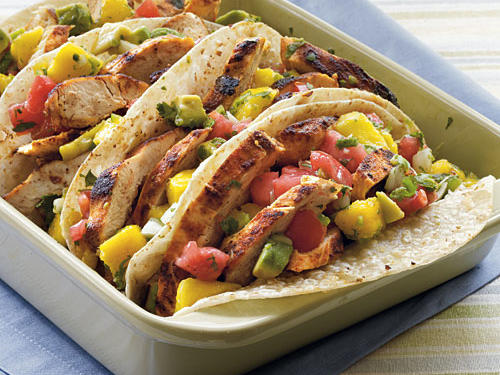 Chicken Tacos with Mango-Avocado Salsa