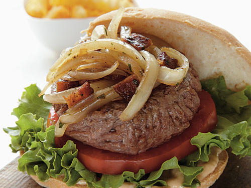 """The burgers were really good,"" said reader Barbara Wallace. ""I love the addition of the onions cooked in the bacon drippings. We made it an open-faced burger and still enjoyed it with a few less calories!""*Remember to check for gluten in Worcestershire sauce."