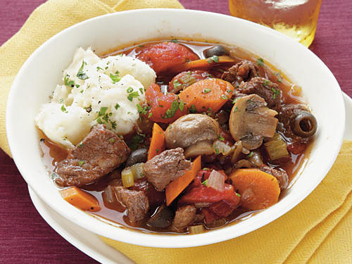 Serve this Mediterranean-inspired stew with mashed potatoes. Make and keep it warm in a Dutch oven or slow cooker.