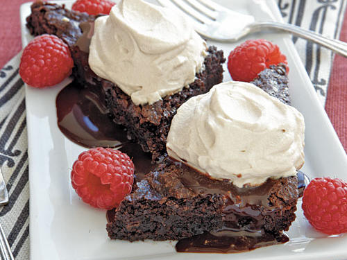 These sophisticated brownies started with a box of gluten-free brownie mix. Gluten-free mixes are tricky and will be very thick when stirring. After the brownies bake the center will not appear done, but will firm as the batter cools.