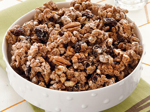 This is a versatile snack mix, so feel free to substitute another type of nut in place of the pecans (almonds would be delicious), or try dried cranberries or raisins in place of the cherries.