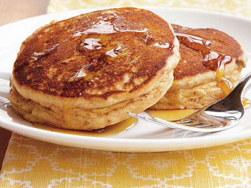 You can give these pancakes a PB&J flavor profile by spreading them with grape or strawberry jelly.