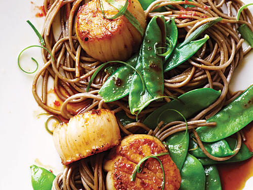 Soy-Citrus Scallops with Soba Noodles