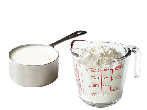 You use dry and liquid measuring cups interchangeably