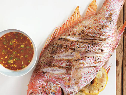 Grilled Whole Red Snapper with Citrus-Ginger Hot Sauce