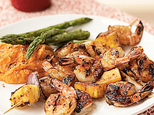 Tender and juicy, shrimp are a quick pick for a fresh meal. These brightly flavored kebabs feature chunks of fresh pineapple, teriyaki sauce, shrimp, and red onions.  Serve with mashed sweet potatoes and grilled asparagus for a complete meal.
