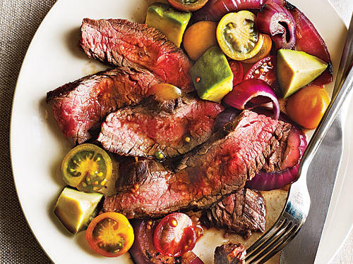 Grilled Flank Steak with Onions, Avocado, and Tomatoes