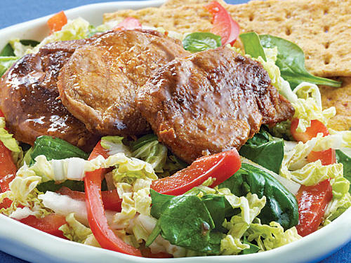 Spinach Salad with Spiced Pork and Ginger Dressing