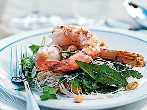 A beautiful and delicious starter, this Asian-influenced noodle dish offers a different interpretation of shrimp on the barbie.