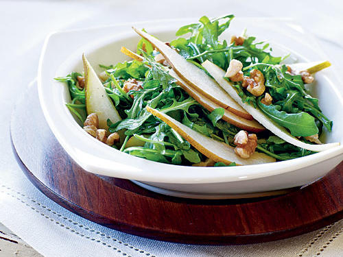 This salad combines the peppery bite of arugula with the sweetness of juicy pears and the earthy crunch of walnuts. If you can't find Bosc pears, Anjou or Sare are also good choices for salads.