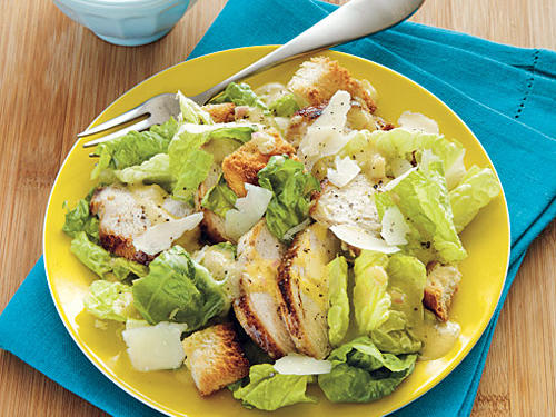 Once you make this salad for the first time, you'll never feel the need to make a real Caesar again. The lemon juice and olive oil add such fresh flavors. Let your kids choose chicken, fish, or steak to eat with it. Make this a gluten-free salad by replacing the French bread with a gluten-free option.