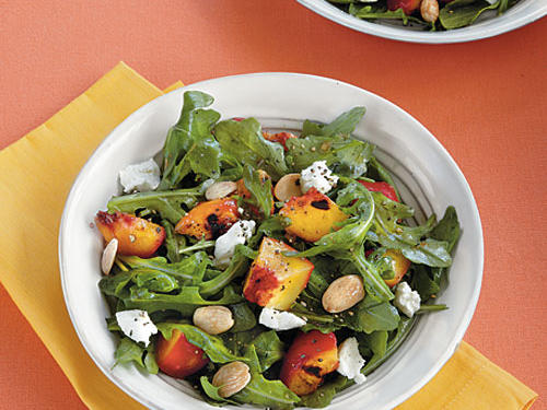 Grilled Stone Fruit Salad with Goat Cheese and Almonds