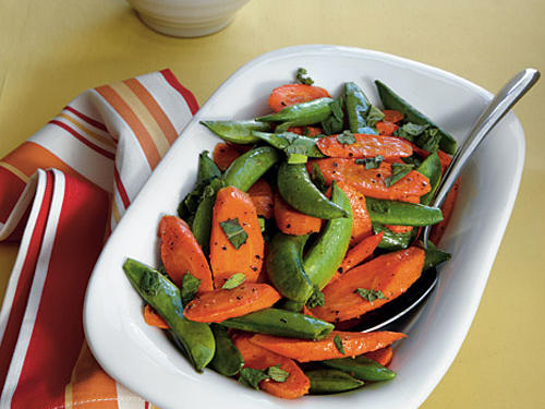 Roasted Carrots and Snap Peas