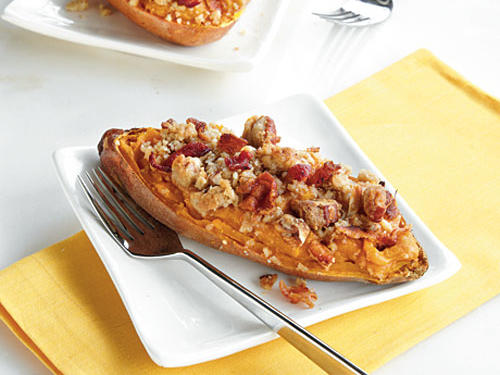 1209 Twice-Baked Sweet Potato Boats with Bacon-Pecan Topping