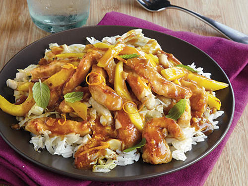 Mango and mint is an unexpected combination in this speedy weeknight stir-fry, but they compliment each other well. Slice your mango the same thickness as the pork—it's easier to eat this way, and it looks nice too!