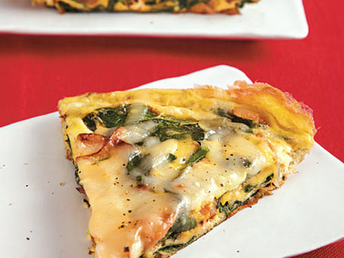 Mix up for morning routine with a delicious frittata; eggs boost protein and veggies become tender and delicious. Get creative with your frittata combos – try spicy jalapenos and cheddar or ham and Swiss. This frittata easily feeds a family of four.