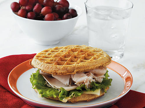 Kids will love this cross between breakfast and lunch. Crunchy waffles, creamy cheese, and protein-packed turkey make this a great way to get your kids whole grains, dairy, and protein.