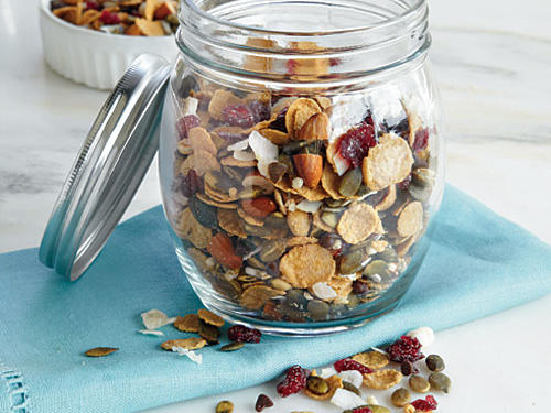 The trick to getting kids to eat trail mix: Add just a little bit of the sweet stuff to the nutritious stuff so it tastes like a treat. Pumpkin seeds are loaded with magnesium and zinc, and the cranberries are chock-full of vitamin C and fiber.