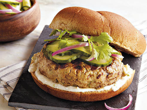 This burger has some of the same flavors as a popular sushi roll. Be sure to process the tuna using quick pulses to prevent the meat from being overworked and overheated by the blade.