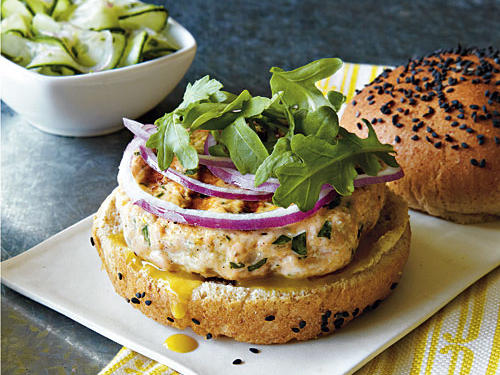 It's no surprise that these Salmon Burgers are seething with delicious flavors. The Dijon mustard adds a creamy touch, while the sliced red onion adds a nutritious crunch.