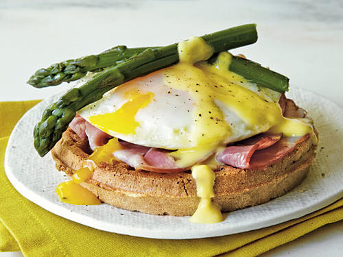 Two breakfast classics merge in this dish, perfect for weekend brunch or a light dinner. Toss any leftover hollandaise sauce; because it is made with egg yolks, it doesn't keep well.