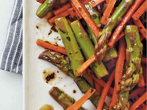 Veggies bathed in balsamic vinegar are an irresistible side dish to almost any weeknight dinner.