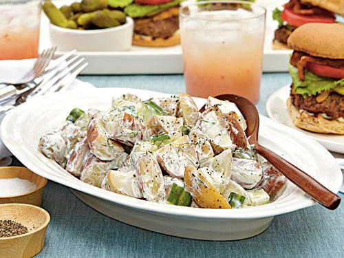 Whip up a side salad of this potato salad for your next picnic. Made with sour cream, Greek yogurt, cucumber, and fresh dill, this creamy potato salad is ready in 20 minutes.