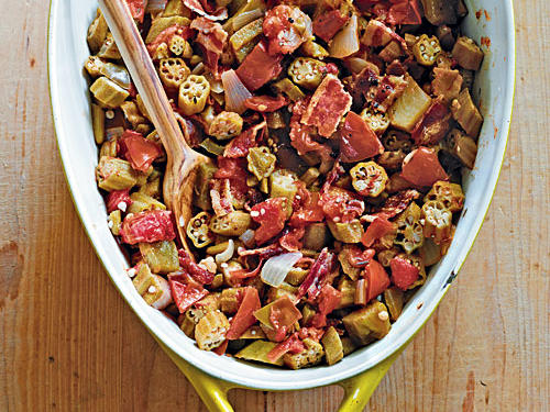 Stewed Okra with Tomatoes and Bacon