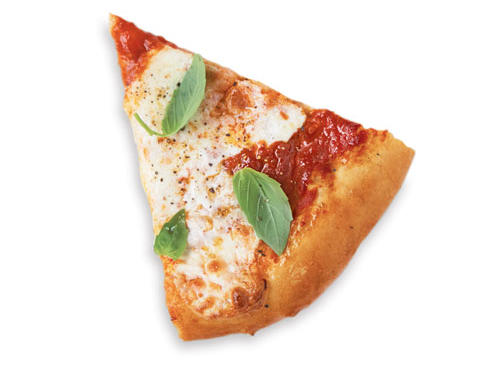 BASE: 1/2 cup lower-sodium marinara sauceTOPPINGS: 1 cup thinly sliced fresh mozzarella cheese + 1/3 cup small fresh basil leaves.SERVES 8 (serving size: 1 slice)CALORIES 194; FAT 4.9g (sat 1.9g); SODIUM 369mg