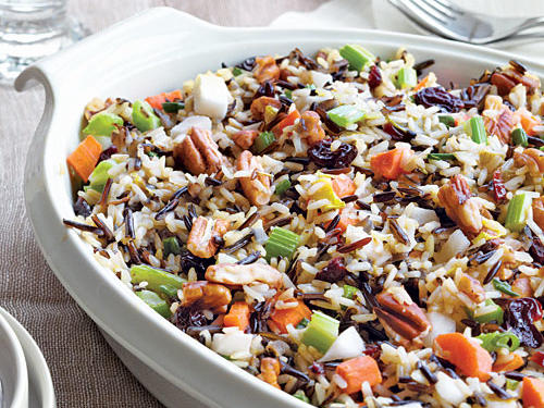 The nutty, almost smoky flavor of wild rice pairs beautifully with sweet dried cherries. This dish works well with turkey and other poultry.