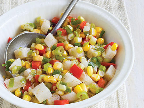Heat 1 tablespoon olive oil in a large nonstick skillet over medium-high heat. Add 2/3 cup chopped jicama and 1 tablespoon minced jalapeño to pan; sauté 2 minutes, stirring frequently. Add 2 cups fresh corn kernels, 1 3/4 cups thinly sliced green onions, 2/3 cup chopped red bell pepper, 1/2 teaspoon ground cumin, and 1/4 teaspoon salt; sauté 2 minutes, stirring frequently.SERVES 6 (serving size: 1 cup)CALORIES 151; FAT 6.1g (sat 0.5g); SODIUM 157mg
