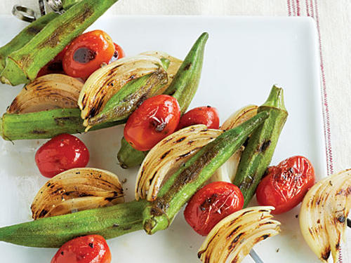 Grilled Okra & Tomatoes