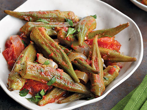Okra is a Southern classic that people tend to love or hate. Here, the acidity of the tomatoes helps thin the vegetable's viscous juices and preserves its crunchiness. Be sure to pick small pods, as they are more tender.
