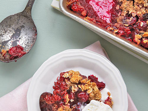 Cranberries, blueberries, and Concord grapes are the only berries native to America that are commercially grown. Cranberries were first used by Native Americans, who valued them as a food, fabric dye, and healing agent. American farmers now harvest over 40,000 acres of cranberries a year, meaning you can find them fresh over the fall and winter months. This recipe highlights their fresh natural flavor while adding a little oat-enhanced crunch for interest.