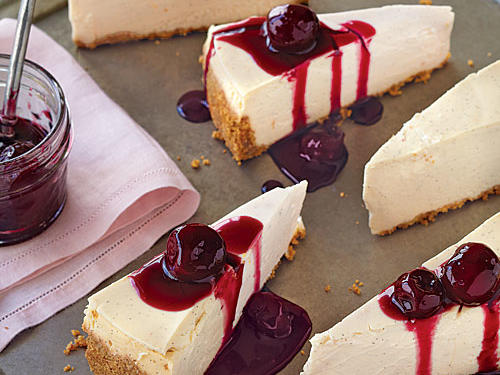You can make both the cheesecake and the topping up to three days ahead and store them separately in the refrigerator. Or chill the cooled cheesecake in the pan for two hours, then wrap in heavy-duty plastic wrap and freeze for up to two months. Thaw the cheesecake in the refrigerator.