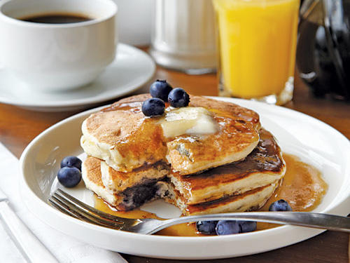 Peach and Blueberry Pancakes