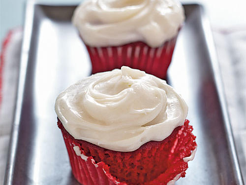 The frosting takes this red velvet cupcake recipe from great to fantastic. The secret here: real butter and full-fat cream cheese—just less of it. The results are mouthwateringly good.