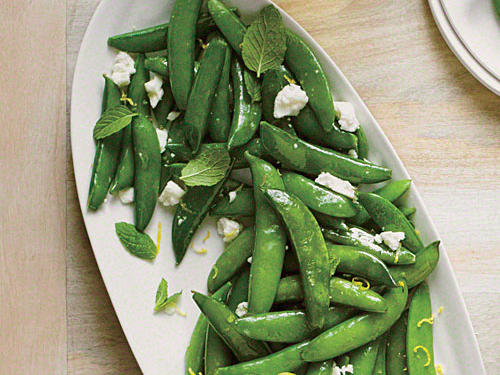 1603 Sautéed Snap Peas with Ricotta Salata and Mint